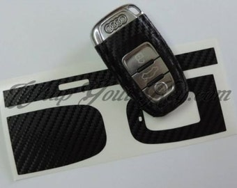 Black carbon fiber key wrap decal sticker overlay cover Audi Smart remote a1 a3 a4 a5 a6 a8 tt q3 5 q7