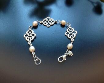 Champagne Freshwater Pearl andceltic Tibetan silver filigree link handmade Bracelet