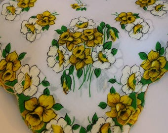 Yellow Daffodil Hanky, Floral Handkerchief