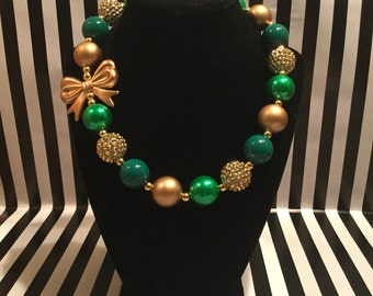 Gold and Green Bubblegum Bead Necklace