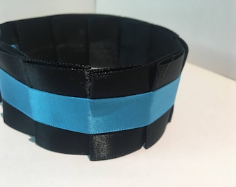 Pleated Satin Collar- Turquoise