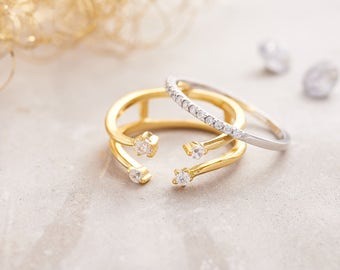 Set Of Two Gold And Silver Rings