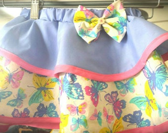 Adorable Butterfly Bright layered skirt with bow. Toddler skirt.