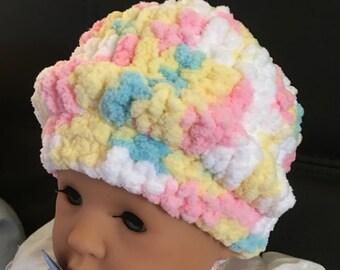 Baby Hat/Crocheted/Bernat Super Bulky Yarn/ So Soft/Pink/Yellow