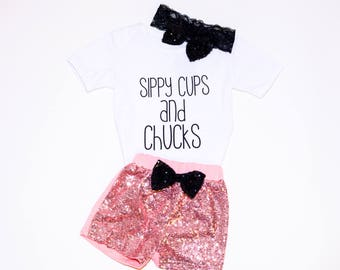 Sippy Cups & Chucks 3 Piece Outfit 12-24 Month