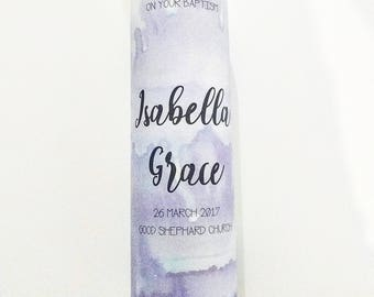 The Isabella Watercolour - Christening Candle, Baptism Candle, Girl's Candle, Purple Candle, Naming Day, Personalised Candle, Watercolour