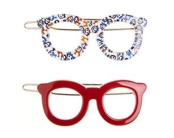 """Turtle Story 2x Glasses Premium Cellulose Acetate (""""Turtle shell"""") Handmade Hair Clips (Glossy Red/ Little Faces)"""