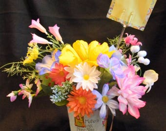 Mothers Day Silk Flower Arrangment - Mary Engelbreit Papercraft Bucket filled with Silk Flowers - Great Gift for Mom!