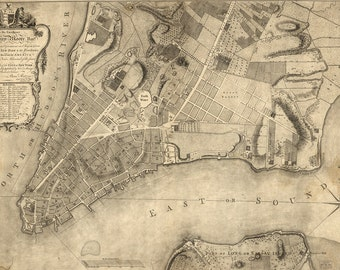 Map of Manhatten from 1767 - Canvas Print