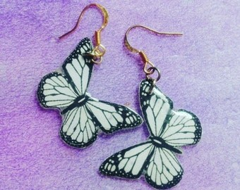 butterfly Earrings Epoxy black white summer insects forest gift girls handmade celebrity birthday wedding decoration