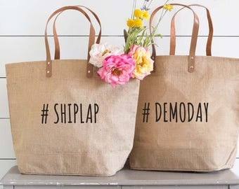 Shiplap Tote Bag, Demo Day Shoulder Bag, His and Hers Totes, Joanna Gaines Inspired, Fixer Upper, Farmhouse Style, Mom Tote, Home Buyer Gift