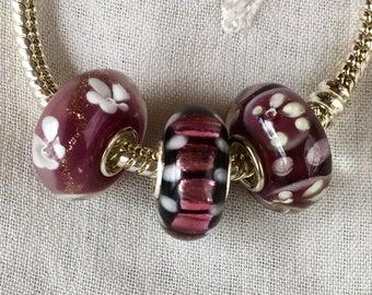 Sterling Silver Core Murano Glass Beads, Pandora Style, Lampwork Glass Beads, Mauve Beads, Add a Bead, Set of 3 Beads