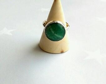 Aventurine silver handmade ring