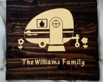 Happy camper personalized plaque