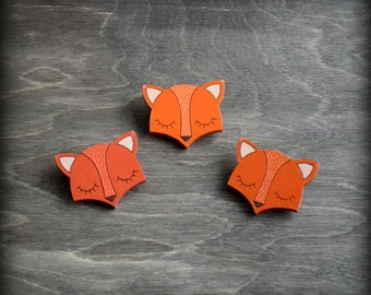 Wooden painted brooch little dreamy fox. Orange color.