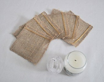 Coasters in hessian and gilded edging (set of 6)