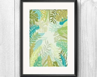 Tropical Leaves A4 Print