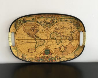 vintage old world map tray made in japan plastic serving platter home