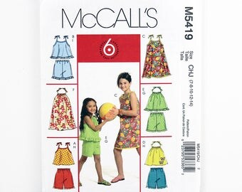 McCall's Pattern 5419, Children's Tops, Dress, Shorts, Size 7, 8, 10, 12, 14, Girls Top, Girl's Dress, Girl's Shorts Sewing Patterns, Uncut