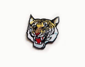 1x roaring Tiger PATCH biker rock bengal head face jungle wild Iron On Embroidered Applique for custom jacket