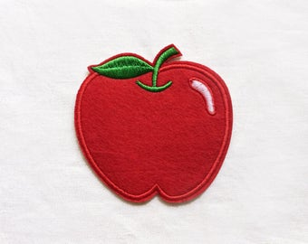 1x large red Apple patch teacher fruit Iron On Embroidered Applique logo custom diy