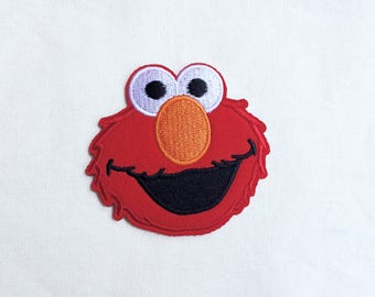 1x ELMO patch Sesame Street Iron On Embroidered Applique red fur custom diy cute