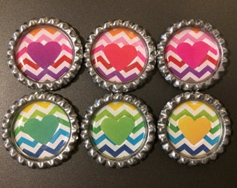 Chevron heart circle magnets