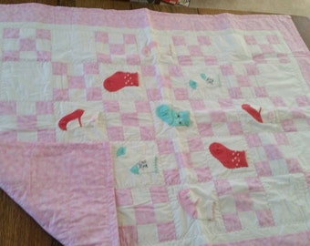 Pink girl sock quilt