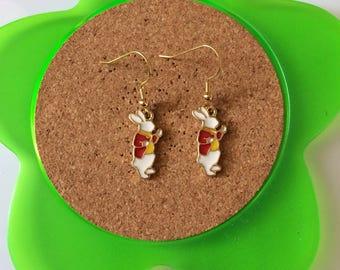 Handmade alice in wonderland white rabbit dangle earrings