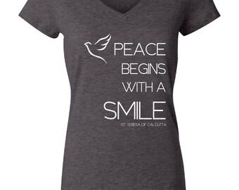 """Womens """"Peace"""" V-Neck T-Shirt"""