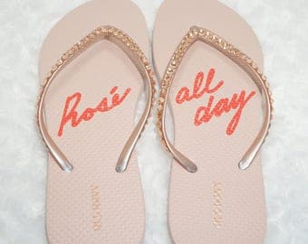 Rose Gold Flip Flops embellished with Rose Gold Crystals