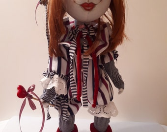 Harlequin doll made in the best traditions of Italian masters.
