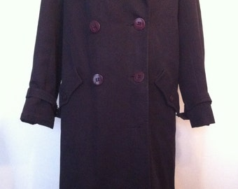 Vintage Womens French Nino Navy Wool Long Trench Coat Jacket / Size 42 (UK 12)