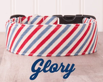 """Vintage Red, White and Blue Dog Collar """"Glory"""""""
