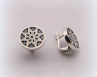Earrings Symbol Alatyr,Silver Earrings,Earrings Pagan Talisman,Earrings Jewelry