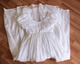 Regency dress. White cotton dress.  Empire dress. Dress 1800s. Day dress