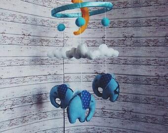 baby mobile blue elephant