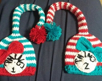 Crochet Dr Seuss Thing 1 & 2 Twin Baby Hats
