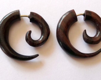 False spreader earrings spiral piercing ethnic wooden