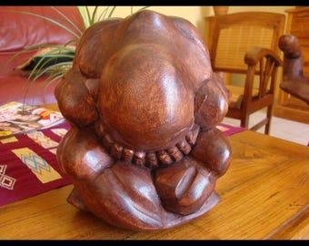 Buddha wood meditation sculpture yogi zen feng shui wellness