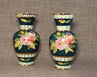 Pair of Hand Painted Delft Floral Vases, Gold Trim