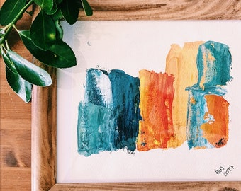 Framed Monoprint | Sea Blue and Orange | Framed Abstract Artwork | Annabel Wyatt Art | 20 X 25 cm