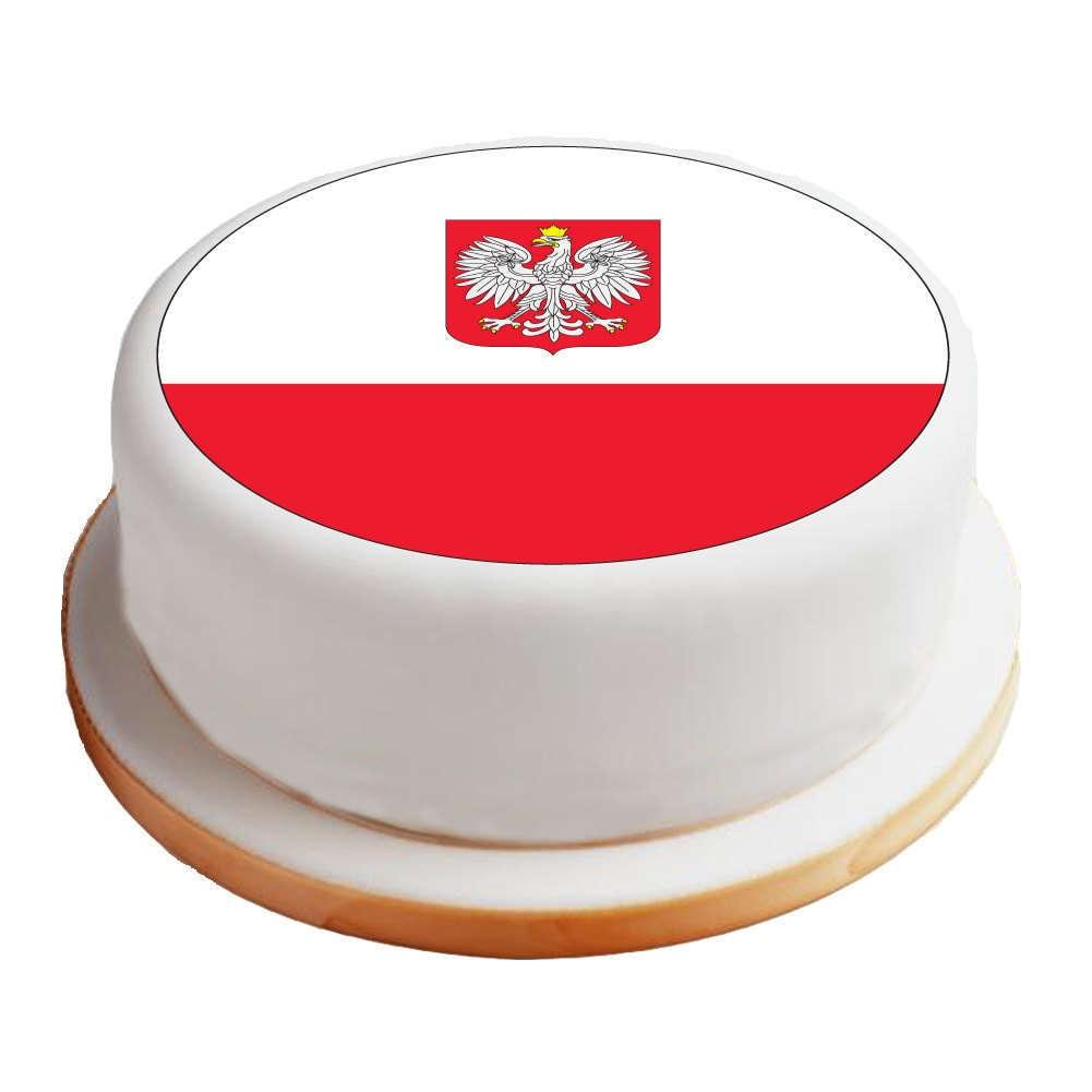 "Poland Cake: 8"" Pre-Cut Round Cake Topper"