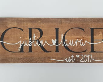 Couples sign - Custom couples wood sign- wedding gift - shower gift - anniversary gift - family name sign - farmhouse decor - rustic sign