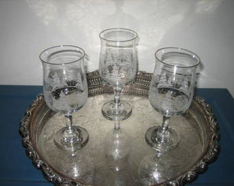 Three Vintage Libby's For Arby's Wine Glasses Winter Scene With Gold Rim