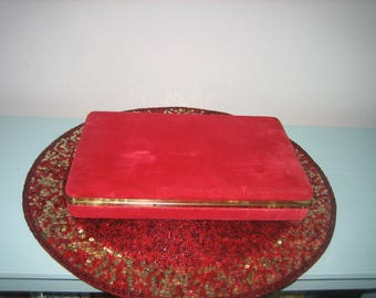 Vintage 24 Section Red Velvet Jewelry Box For Rings Etc.
