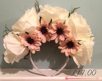 White handmade floral crown head band