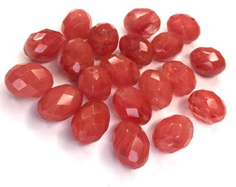 Large Faceted Cherry Quartz Glass Beads