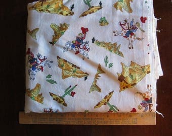 Fabric 1 Yard Cowboys Cowgirls Horses Cactus Mountains 2000 Blank textiles Cotton Quilting Sewing