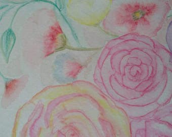 Mothers garden flowers 9 x 11 original watercolor painting by M O'Neill  .that be me!